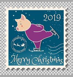 Pig runs on skates christmas postage stamp vector