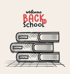 Pile books back to school drawing vector