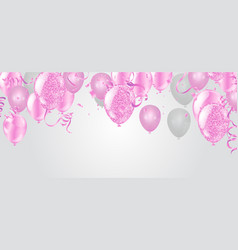 pink and white balloons and on the white vector image
