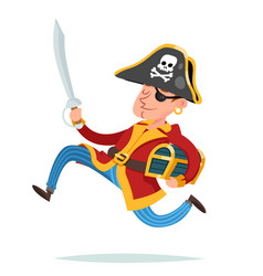 pirate captain character running away with vector image