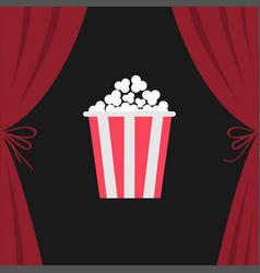 popcorn box open luxury red silk stage theatre vector image
