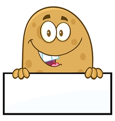 Potato Cartoon Holding Up Sign vector image