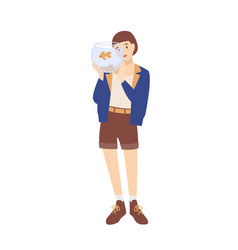 pretty happy young woman or girl holding aquarium vector image