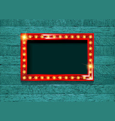 Retro cinema bulb sign shape vector