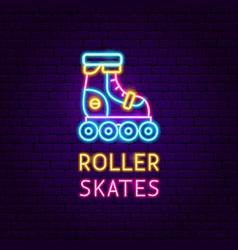 roller skates neon label vector image