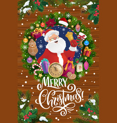 santa with christmas bell in xmas wreath frame vector image