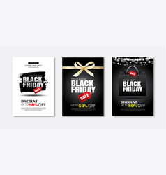 set black friday sale flyer template use vector image