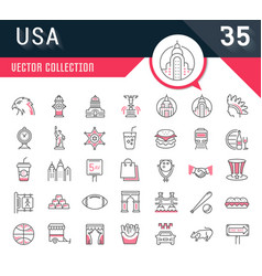 set flat line icons usa and america vector image