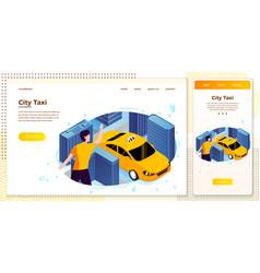 set man catching taxi cab vector image