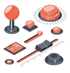 set of 3d buttons switches regulators vector image