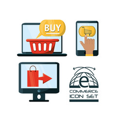 set shopping online to ecommerce marketing vector image