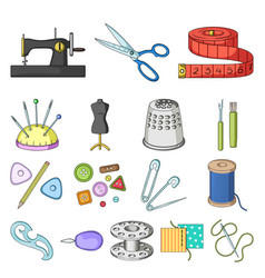 sewing atelier cartoon icons in set collection vector image