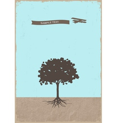 Silhouette of tree and old plane vector image