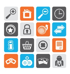 Silhouette Web Site and Internet icons vector image