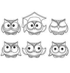 Six amusing owl outlines vector