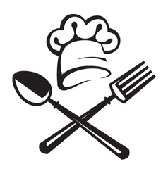 spoon fork and chef hat vector image