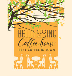 Spring banner for the best in town coffee house vector