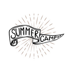 Summer camp emblem hand drawn flag with lettering vector