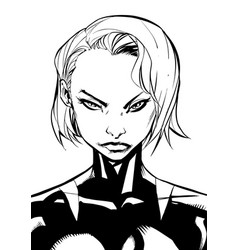 superheroine portrait line art vector image