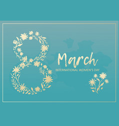 tender blue card for 8 march with golden flowers vector image