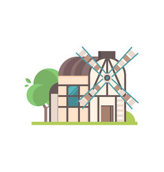 traditional ancient rural windmill ecological vector image