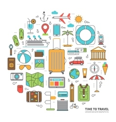 Travel concept in thin line style vector image