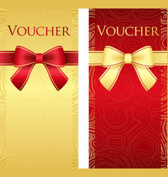 Vertical gold and red voucher with ribbon and vector