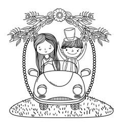 Wedding couple marriage cute cartoon black and vector