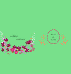 Wedding invitation with rose flowers and leaves vector