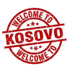 Welcome to kosovo red stamp vector