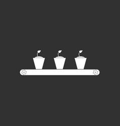White icon on black background flowerpots on shelf vector