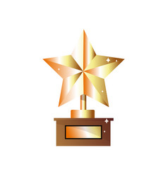 Winner trophy gold star flat icon for sports vector