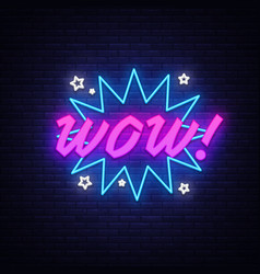 wow neon sign comic speech bubble with vector image