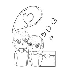 young lovers couple with hearts floating vector image