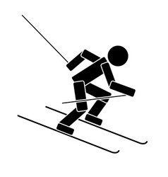 alpine skiing flat icon vector image vector image