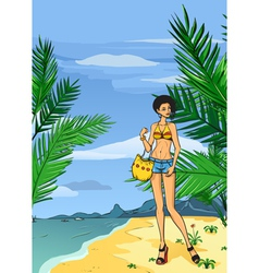 Girl in jeans on the beach vector image
