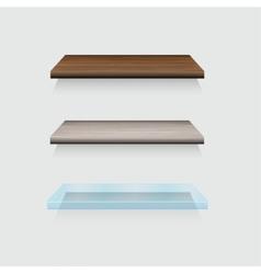modern wooden and glass shelfs set on gray vector image