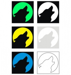 wolf and moon silhouette vector image vector image