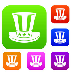 american hat set collection vector image vector image