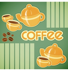 coffee cups coffee pot and coffee beans vector image