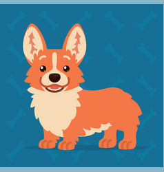 cute welsh corgi standing and smiling element for vector image vector image