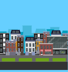 Flat design urban landscape of a street with vector image