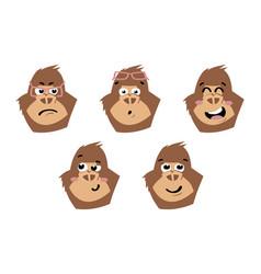 Gorilla cute monkey faces emoticons vector