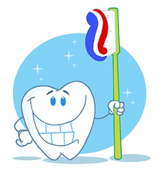 Happy Smiling Tooth With Toothbrush vector image
