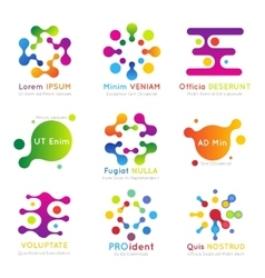 Molecular business logo set vector