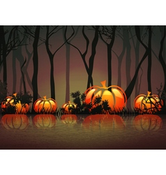 Pumpkin halloween moon night vector