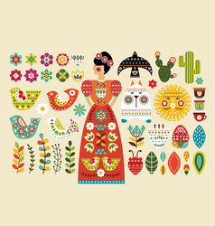 set mexican folk elements in flat design vector image