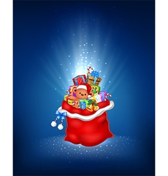 Cartoon of red sack with contains gift vector image