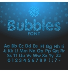 Alphabet letters consisting of blue bubbles vector image vector image