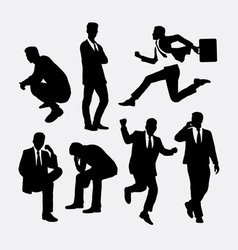 Businessman people action silhouettes vector
